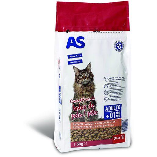 AS Alimentação Seca Para Gato Controlo Bolas de Pêlo 1,5 kg