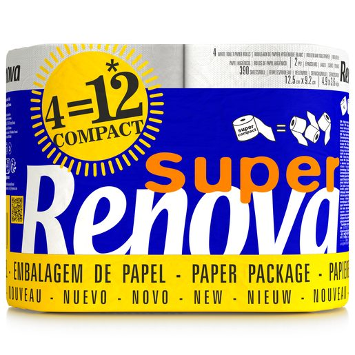 RENOVA Papel Higiénico Super Compact (4=12 rolos) 4 un