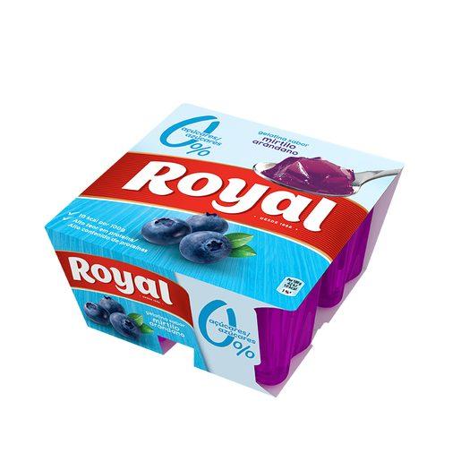 ROYAL Gelatina de Mirtilo Light 10 Kcal 4x100 g