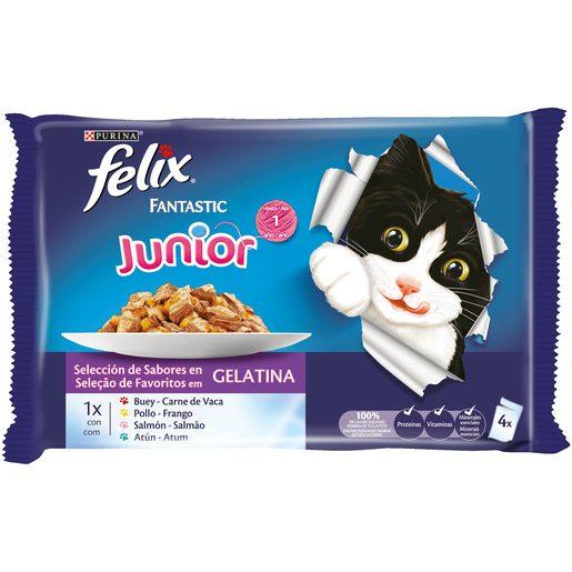 FELIX FANTASTIC Alimento Húmido Junior 4x100 g