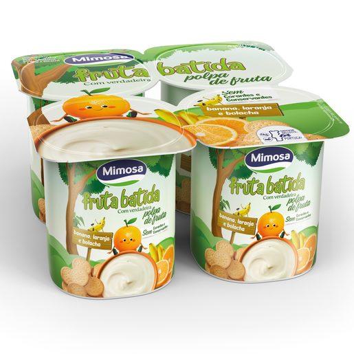 MIMOSA Iogurte Polpa Banana, Laranja e Bolacha 4x120 g